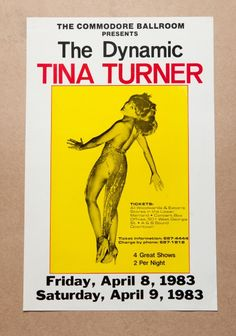 Tina Turner poster for an 1983 show at the Commodore Ballroom
