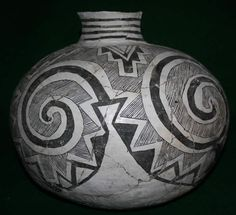 Anasazi/MAnasazi/Mogollon Tularosa Black-on-White Olla; this has been reassembled from shards found at a prehistoric site which is likely somewhere in western New Mexico.