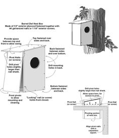 Barred Owl Nest Box Plan Illustration of Barred owl next box and assembly plans<br>