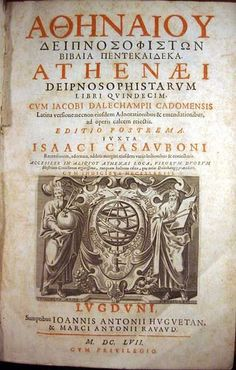 """Wikipedia.org/***BOOK-- Deipnosophistae-- is an early 3rd-century AD Greek work (Ancient Greek: """"The Dinner Sophists/Philosophers/Experts…"""