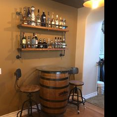 man cave/bar/game room Commercial Patio Furniture-Money Saving Ideas for Resort Owners Article Body: Home Bar Rooms, Diy Home Bar, Home Bar Decor, Home Decor Store, Bar Shelves, Pipe Shelves, Hanging Shelves, Wall Bar Shelf, Basement Bar Designs