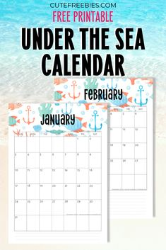 Free Printable 2021 Sea Themed Calendar + More Freebies - Cute Freebies For You Planner Template, Planner Inserts, Planner Pages, Free Printable Calendar, Printable Planner, Free Printables, 2021 Calendar, Monthly Planner