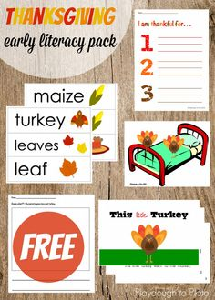 Free Thanksgiving Activity Pack - vocabulary cards, a little reader, I am thankful writing sheets... lots of fun activities for preschoolers and kindergarteners.