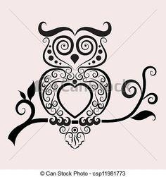 Vector - Decorative owl vector - stock illustration, royalty free illustrations, stock clip art icon, stock clipart icons, logo, line art, EPS picture, pictures, graphic, graphics, drawing, drawings, vector image, artwork, EPS vector art