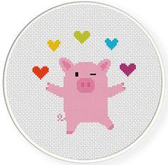 Free PDF Cross Stitch charts   Charts Club Members Only: Piggie Juggler Cross Stitch Pattern