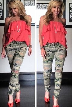 Camo distressed skinny jeans from #kitson #blacklris, orange pumps with racing stripe by #fendi paired with orange strapless top from #forever 21