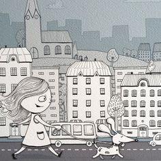 Walking the dog  Fine Art Giclée limited edition by ViktoriaAstrom