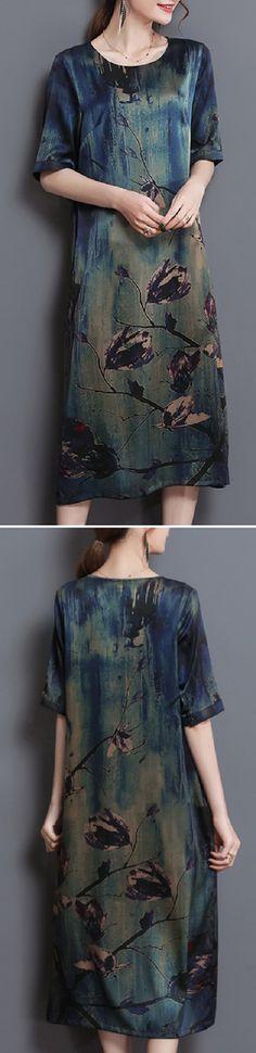 US$ 30.59 Vintage Women Print Pockets A-Line Half SLeeve O-Neck Dress