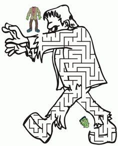 Free Halloween Frankenstein Maze Printable Coloring Pages Halloween Puzzles, Halloween Worksheets, Halloween Words, Easy Halloween Crafts, Halloween Drawings, Halloween Pictures, Holidays Halloween, Halloween Movies, Fine Motor