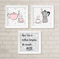 Kit de Quadrinhos - Melhor Tempero | Atelier 508 | Elo7 Home Design Decor, Diy Home Decor, Kitchen Canvas, Coffee Bar Home, Wall Decor, Room Decor, Kids Room Wall Art, Fashion Wall Art, Stationery Design