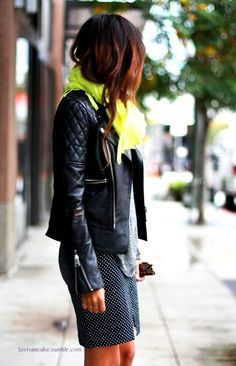 chartreuse scarf + polka dot skirt city style