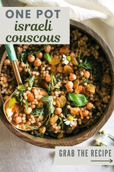 Israeli couscous is served with chickpeas, golden raisins, and fresh herbs in this 20-minute vegan recipe. The best part? You only need one pot and minimal ingredients, making it super easy to whip up. #EasyRecipes #PlantBased #VeganMeals #IsraeliCouscous Vegan Recipes Easy, Vegetarian Recipes, Veggie Recipes, Vegan Vegetarian, Salad Recipes, Pearl Couscous Recipes, Dry Chickpeas, Golden Raisins, Deserts