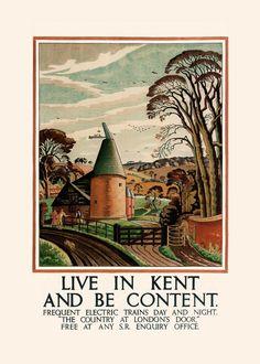 KENT TRAVEL POSTER Art Deco Travel Poster by EncorePrintSociety