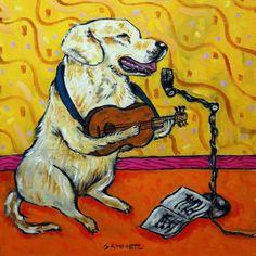 Yellow Labrador retriever wine  8x10  artist prints animals impressionism