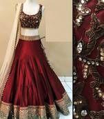 Buy Maroon embroidered benglori silk unstitched lehenga choli maroon-embroidered-benglori-silk-unstitched-lehenga-choli-lehenga-choli online