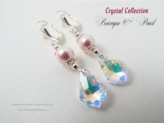 #Jewelry #Earrings #Handcrafted #Swarovski #Baroque Pendant in Crystal AB & Swarovski #Pearl in Powder Rose with Sterling Silver Plate Findings ~ #Gift for Her ~ For ladies who want jewelry that's as fabulous as they are, Touched By God's jewelry is a fresh alternative to generic, mass made pieces. Visit my shop at www.TouchedByGod.etsy.com!