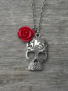 Lucky 13 Silver Skull Necklace with Red Rose