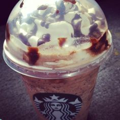 Starbucks frappaccino.  Haven't you heard? Coffee is the new water;)