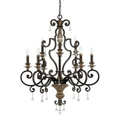 Quoizel Marquette Two Tier Chandelier with 9 Uplights in Heirloom | Wayfair