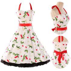 New-Cherry-Print-50s-60s-Swing-Halter-Dress-Pinup-Vintage-Rockabilly-Retro-Style