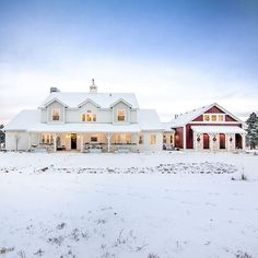 """Walking in a winter wonderland"" 🎵❄Nothing is more beautiful than a fresh blanket of show.....especially when your home looks like this! 🙌 #📸 @gowlerhomes this #farmhouse with #redbarn is"