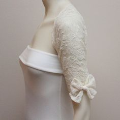 Bow Chic Ivory Lace Wedding Shrug Bridal Shrug Lace by boubo, $62.00 for Kataya!
