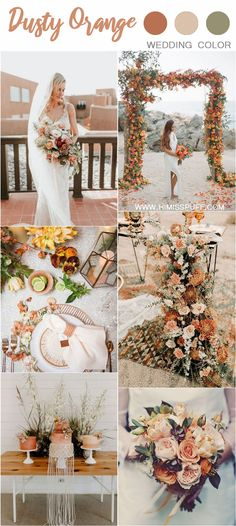 summer fall wedding color ideas - sunset dusty orange wedding color ideas and trends wedding colors Wedding Color Trends: 30 Sunset Dusty Orange Wedding Color Ideas Burnt Orange Weddings, Orange Wedding Colors, Fall Wedding Colors, Blue Weddings, Burgundy Wedding, Rustic Weddings, Winter Weddings, Unique Weddings, Orange Wedding Decor