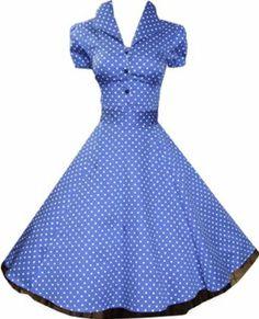 Pretty Kitty Fashion 50s Polka Dot Blau Weiß Cocktail Kleid - JETZT bis Größe 52: Amazon.de: Bekleidung