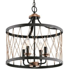 Kichler Brookglen Black with Gold Tone French Country/Cottage Drum Pendant Light at Lowe's. This black with gold tone finish accents four light pendant is part of the Brookglen collection. The shade has a wicker-like woven design. Coordinate with Cage Pendant Light, Drum Pendant, Pendant Lighting, Pendant Chandelier, Cottage Lighting, Kitchen Lighting, Dramatic Lighting, Lighting Ideas, French Country Cottage