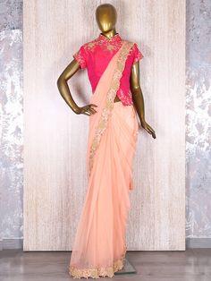 Designer Peach Lycra Net Ready To Wear Saree