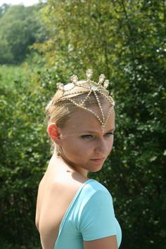 Ballet Headpiece Tiara Ballerina Gold with AB Crystals by Angamow
