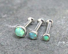 Green Opal Triple Helix ,Triple Forward Helix, Flat Back Surgical Steel Internally Thread Piercing Jewelry 16G 18G, Helix Earring Studs