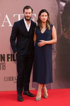 Jamie and Millie at a Private War premier on October 2018 in London Fifty Shades, Shades Of Grey, Jaime Dornan, Three Piece Suit, Irish Men, Dakota Johnson, Celebs, Celebrities, New Movies