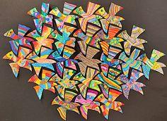 Unique and creative professions: flying birds (Escher variety) Collaborative Art Projects, Classroom Art Projects, School Art Projects, Art Classroom, Mc Escher Art, Escher Kunst, Tessellation Art, Classe D'art, Middle School Art