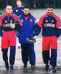 Jose Mourinho (middle) and Pep Guardiola (right) at FC Barcelona