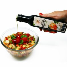 Prepare this delicious chickpeas salad with our Yummy Croatian Pumpkin Seed Oil for only 10 - 15 minutes! Pumpkin Seed Oil, Fresh Coriander, Canned Chickpeas, Chickpea Salad, Red Peppers, Lime Juice, Cherry Tomatoes, Onions, Food To Make