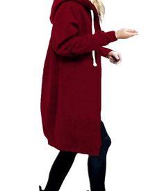 7a66711320377 Abrigos mujer StyleDome Mujer Invierno Sudadera con Capucha Chaqueta Larga  Cárdigan Mangas Largas Cremallera colores