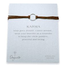 Silver Karma Bracelet with Tobacco Linen from Dogeared