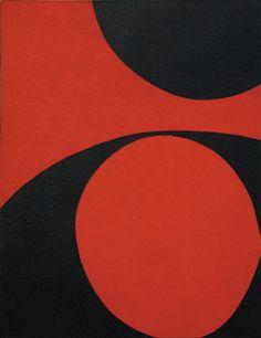 """June Harwood, Rouge et Noir, 1965. Acrylic on canvas, 27"""" x 21"""""""