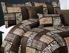 7 Piee QUEEN Size Safari Comforter set - Leopard, Tiger Zebra, Etc - Multi Animal Print Bed in a Bag Brown Black Beige Micro Fur Bedding >>> Check this awesome image  (This is an amazon affiliate link. I may earn commission from it)