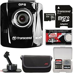 Transcend DrivePro 220 1080p HD GPS Car Dashboard Video Recorder with Adhesive Mount with 32GB Card + Case + Kit