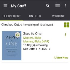 #bookvibes and other book-ish: #ZEROTOONE by #PeterThiel on #audiobook via #Axis360 from #conyersrockdalelibrary #eBooks | #turnupabook #theresanappforthat #scribesandvibes #bookish #recommendedreads | #crlsdigital