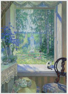 """Window, open the garden"", 1931. Nikolai Bogdanov-Belsky (Russian, 1868-1945)."