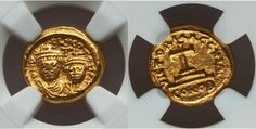 Heraclius (AD with Heraclius Constantine. Carthage, dated IY 14 (AD Facing busts of Heraclius on left and Heraclius Constantine on right, each wearing chlamys and crowned with cross; Rare Coins, Gold Coins