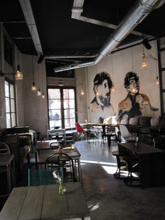 Naif sandwich and bar.  Imagine with a pic of nount tam.  I like the dark ceiling to contrast