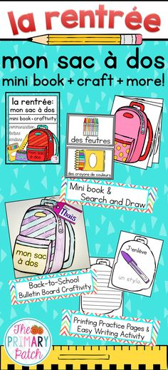 "Vive la rentrée with these six engaging back-to-school reading, writing, and art activities that your French Immersion or Core French students will love! Spice up your bulletin board with adorable backpacks that will be ready in time for your ""Meet the Teacher"" night.  Works great with ""Benjamin va à l'école"" by Paulette Bourgeois."
