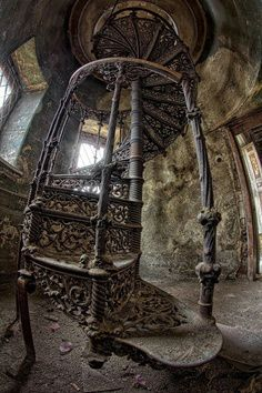 an abandoned Palace in Poland. -Stairway in an abandoned Palace in Poland. -in an abandoned Palace in Poland. -Stairway in an abandoned Palace in Poland. Abandoned Cities, Abandoned Mansions, Old Abandoned Houses, Beautiful Architecture, Beautiful Buildings, Beautiful Stairs, Classical Architecture, Building Architecture, Stairway To Heaven