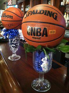 Sport centerpieces custom sports theme bar bat mitzvah for Basketball craft party ideas