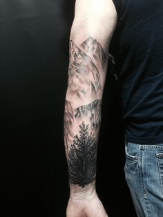 39 Awesome Tattoos For Anyone Who's Happiest Up A Mountain Mountain and tree tattoo Full Sleeve Tattoos, Arm Tattoos, Body Art Tattoos, Tatoos, Tree Sleeve Tattoo, Tattoos Geometric, Tribal Tattoos, Feather Tattoos, Mountain Sleeve Tattoo