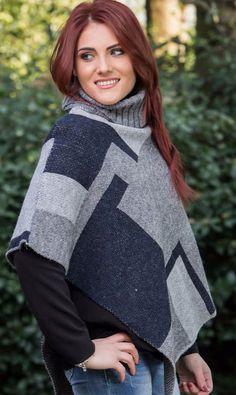 poncho mantella con collo cappotto senza maniche made in italy mohair lana